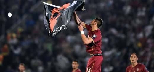 Alexandar Mitrovic grabbing the Albanian Flag